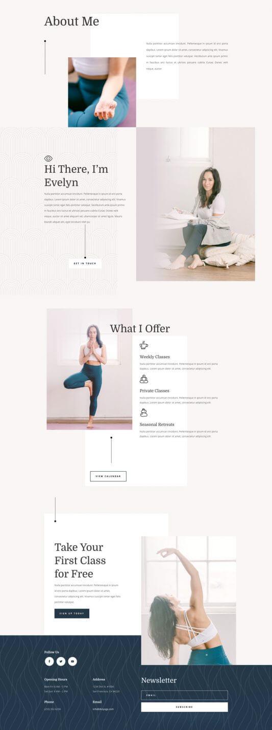 Plantilla Divi para Instructores de Yoga