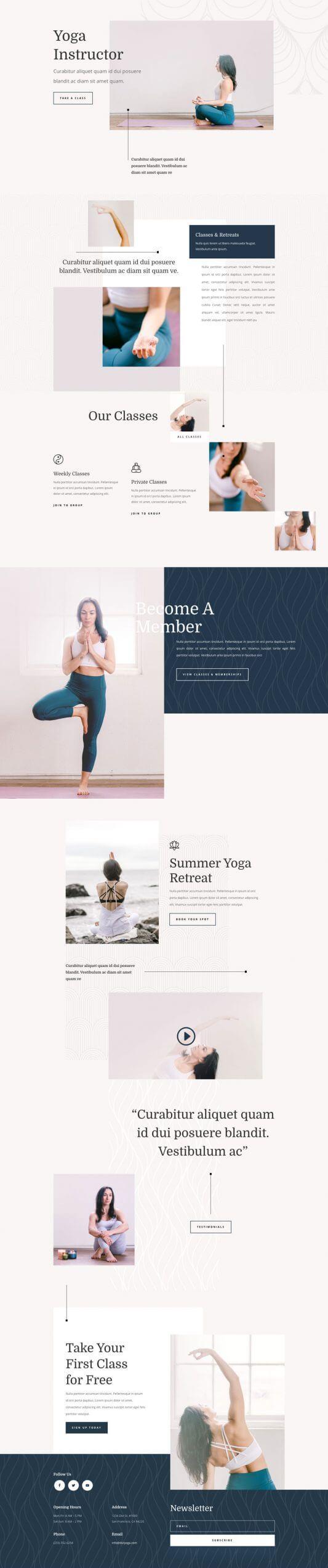 Layout Divi para Instructores de Yoga