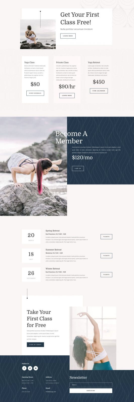 Tema Divi para Instructores de Yoga